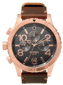 Nixon The 48-20 Chronograph Leather Strap Watch, 48Mm