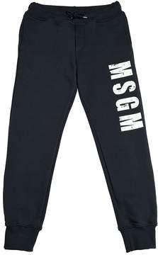 MSGM Distressed Logo Print Cotton Sweatpants