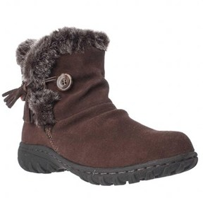 Khombu Isabella Memory Foam Short Winter Boots, Chocolate.