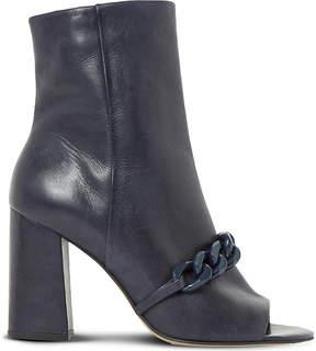 Dune Octavia embellished peep-toe leather heeled ankle boots
