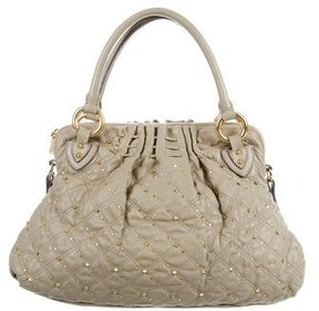 Marc Jacobs Quilted Studded Satchel - NEUTRALS - STYLE