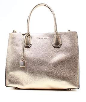 Michael Kors Mercer Large Metallic Leather Tote - Pale Gold - 30H6MM9T3M-740 - AS SHOWN - STYLE
