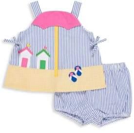 Florence Eiseman Baby's Two-Piece Seersucker Cotton Dress & Bloomers Set