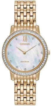 Citizen EX1483-50D Rose Gold Silhouette Crystal Women's Eco-Drive Watch