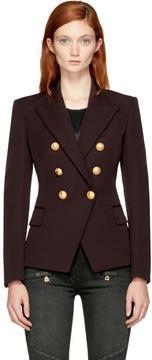 Balmain Brown Wool Six-Button Blazer