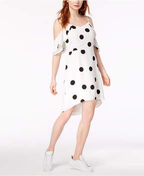 Bar III Flutter-Sleeve Dot-Print Dress, Created for Macy's