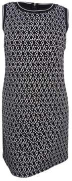 Tommy Hilfiger Women's Geometric Print Sweater Dress (14, Black/Ivory)
