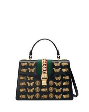 Gucci Sylvie Medium Top-Handle Satchel Bag with Insect Embellishments - BLACK - STYLE