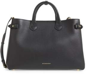 Burberry 'Large Banner' House Check Leather Tote - Black