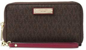 Michael Kors Jet Set Travel Logo Smartphone - Wristlet - Brown/Mulbry - 32S7GTTE2B-243 - AS SHOWN - STYLE