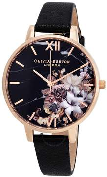 Olivia Burton Marble Florals Black Dial Ladies Watch