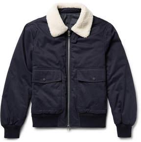 Joseph Alpha Shearling-Trimmed Cotton-Twill Flight Jacket