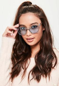 Missguided Blue Clear Cat Eye Sunglasses