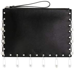 Versus pin embellished clutch