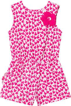 Agatha Ruiz De La Prada Pink And White Flower Detail Heart Print Playsuit