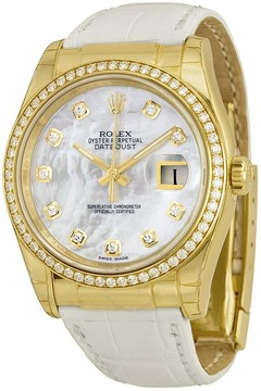 Rolex Oyster Perpetual Datejust Mother of Pearl Dial 18kt Yellow Gold Watch
