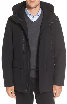 Cole Haan Men's Water Repellent Hooded Wool Jacket