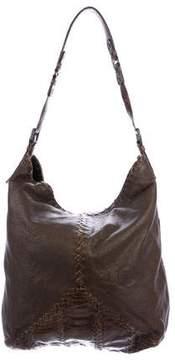 Bottega Veneta Python-Paneled Leather Hobo
