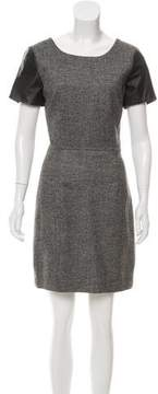 Barneys New York Barney's New York Leather-Accented Wool Dress