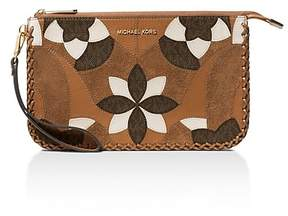 MICHAEL Michael Kors Daniela Floral Patchwork Large Leather Wristlet - ACORN BROWN/GOLD - STYLE