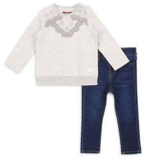 7 For All Mankind Baby's & Toddler's Two-Piece Lace Sweatshirt & Skinny Jeans Set