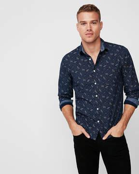 Express Slim Soft Wash Floral Button-Down Shirt