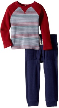 Splendid Littles Print Stripe Raglan Pants Set Boy's Active Sets