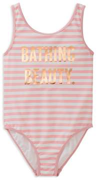 Kate Spade Girls' Striped Bathing Beauty Swimsuit - Little Kid