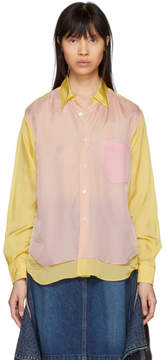 Comme des Garcons Yellow and Pink Cupro Taffeta Shirt