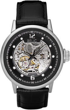 JCPenney RELIC Relic Mens Black Leather Skeleton Watch ZR77224