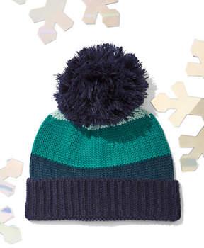 New York & Co. Striped Colorblock Pom-Pom Hat