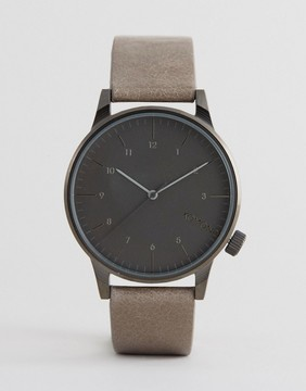 Komono Winston Regal Leather Watch In Beige