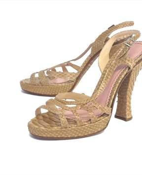John Galliano Tan Snakeskin Platform Sandals
