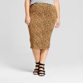 Ava & Viv Women's Plus Size Ribbed Animal Print Midi Skirt Brown