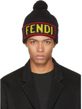Fendi Black Love Pom Pom Beanie