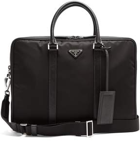Prada Leather-trimmed double-zip nylon briefcase