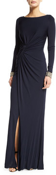 David Meister Embellished-Cuff Ruched Gown, Navy