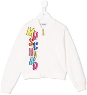 Moschino Kids logo printed bomber jacket