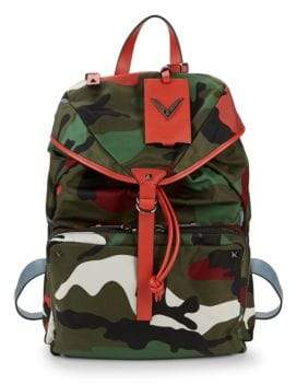 Valentino Leather-Trim Camo Backpack