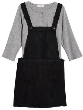 Love, Fire Girl's Henley Top & Overall Dress Set