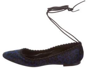 Tamara Mellon Ponyhair Lace-Up Flats