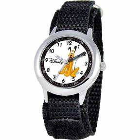 Disney Pluto Boys' Stainless Steel Watch, Black Strap
