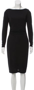 David Meister Long Sleeve Ruched Dress