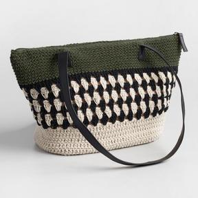 World Market Green Crochet Hobo Bag