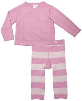 Cuddl Duds Kimono Top & Striped Pants Set (Baby Girls)