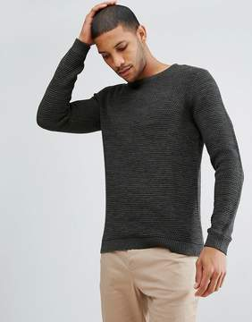 Selected Knitted Sweater With Mixed Yarn Detail