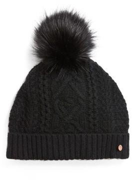 Ted Baker Women's Cable Knit Faux Fur Pompom Beanie - Black