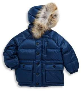 Burberry Little Boy's & Boy's Fox Fur-Trimmed Puffer Coat