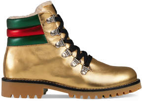 Gucci Children's metallic leather boot with eco fur