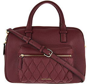 Vera Bradley As Is Quilted Leather Triple Compartment Satchel - ONE COLOR - STYLE